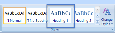 "Screen grab of the Microsoft Word 2013 Styles section within the ribbon. The default style selected is ""Normal."" The Heading 1 selection, which is bigger and bolder in this illustration, has a square border placed around it to indicate the the need to select it if wanting top level headings to appear in the Table of Contents."
