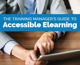 Training Manager's Guide to Accessible Elearning. Image is of a female executive using a tablet.