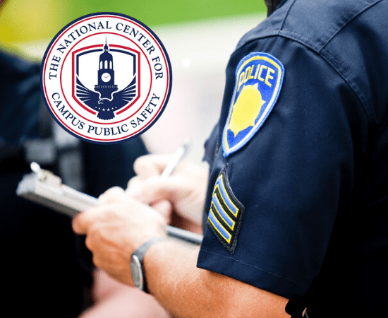 The National Center for Campus Public Safety logo over image of campus police officer